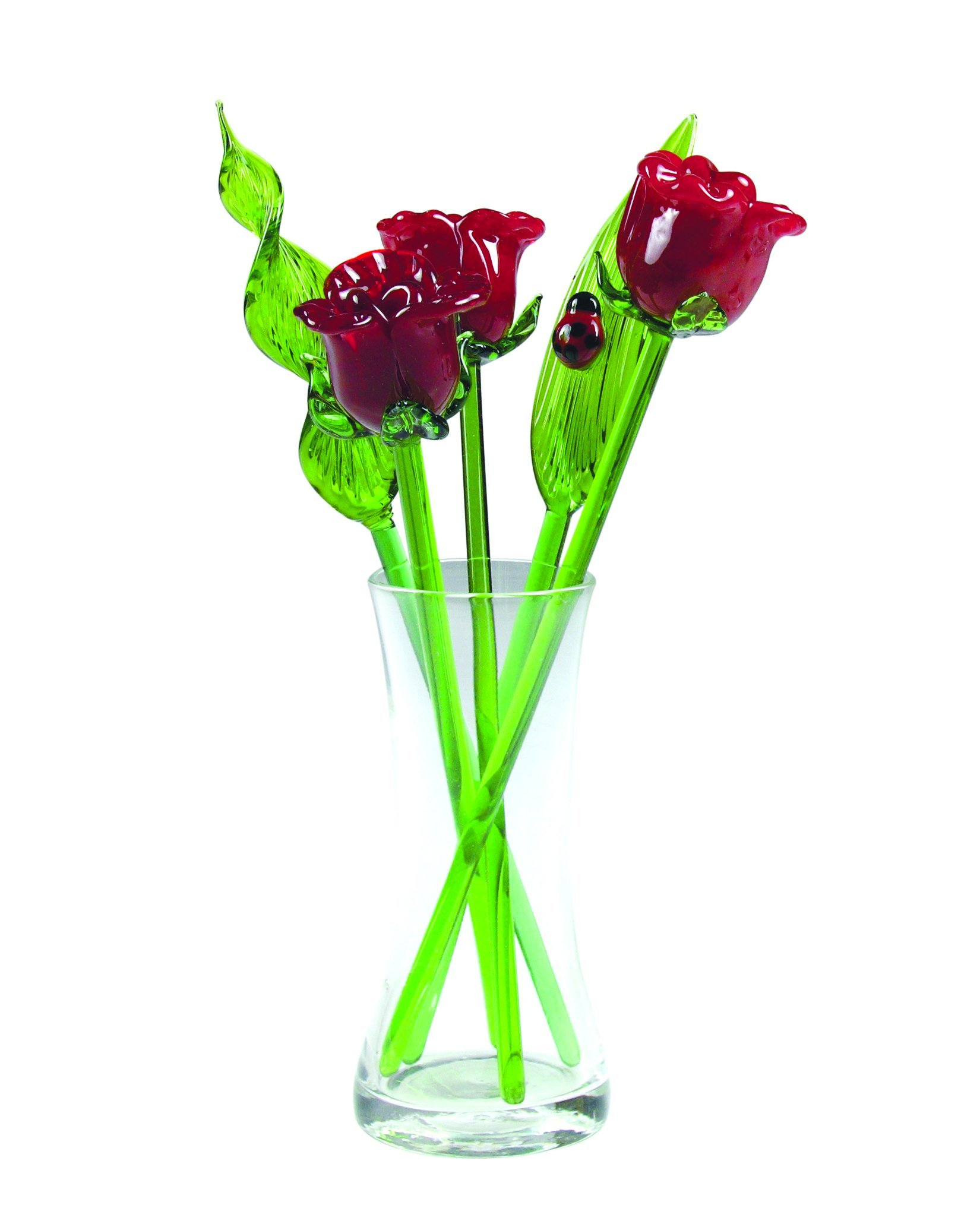 Hand Blown Glass Red Roses and Leaves Set with Glass Vase and Red Ladybug …