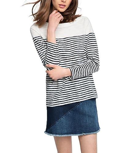 ESPRIT gestreift-Camiseta de manga larga  Mujer    Mehrfarbig (NAVY 400) 42