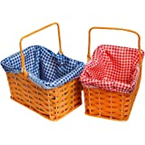 PLASTIC BASKET WITH ATTACHED RED GINGHAM CLOTH AND HANDLE PERFECT FOR SCHOOL BOOK WEEK FAIRYTALE CHARACTER + WORLD BOOK DAY FANCY DRESS COSTUME ACCESSORY
