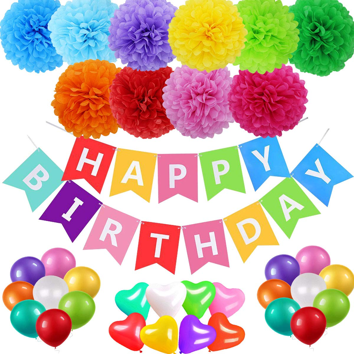 acetek Birthday Decorations Party Supplies Happy Birthday Banner Sign 24pcs Colorful Balloons,10pcs Rainbow Tissue Paper Pompom Balls for 1st Birthday Party Baby Shower