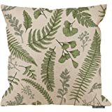 HGOD DESIGNS Leaves Square Pillow Cushion Cover,Green Leaves and Fern Pattern Cotton Linen Cushion Covers Home…