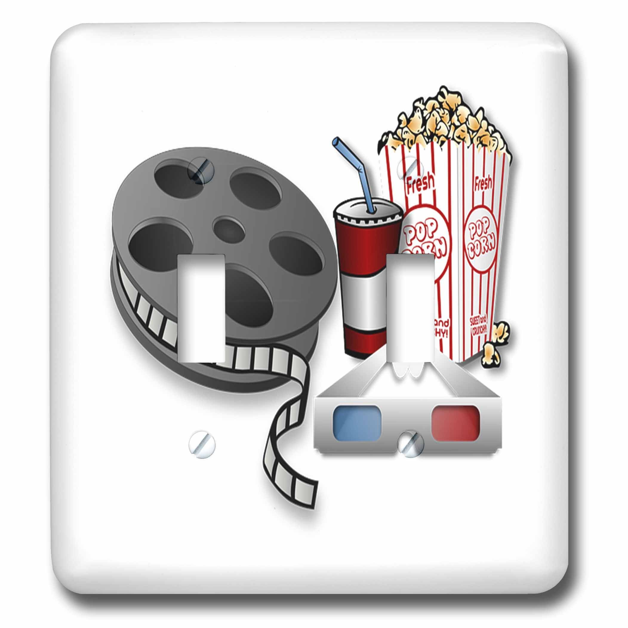 3dRose lsp_243598_2 2 Image of Old 3D Glasses Movie Film and Popcorn-Double Toggle Switch