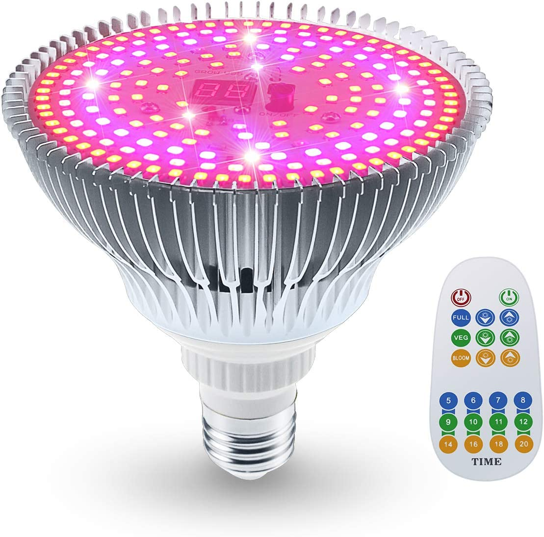 Koopower 100W LED Grow Light Bulb, Full Spectrum Remote Control Plant Lamp 3 Mode Grow Light with Timer for Hydroponic Greenhouse Indoor Plants, Flowers, Vegetables Growing E26 Base,186 LEDs