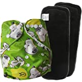 EASY MOM Cartoon Baby Cloth Diapers Pack Baby Cloth Diapers 1 PCS With 2 PCS Bamboo Fiber Charcoal Inserts(5layers) One Size Fits All Adjustable (Green dog)