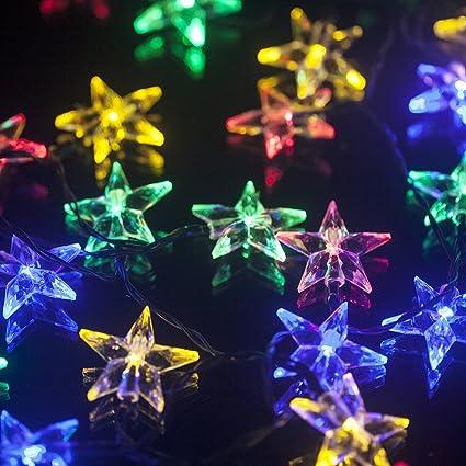 sunniemart 30 led star solar christmas lights outdoor string lights for patio garden lawn multi