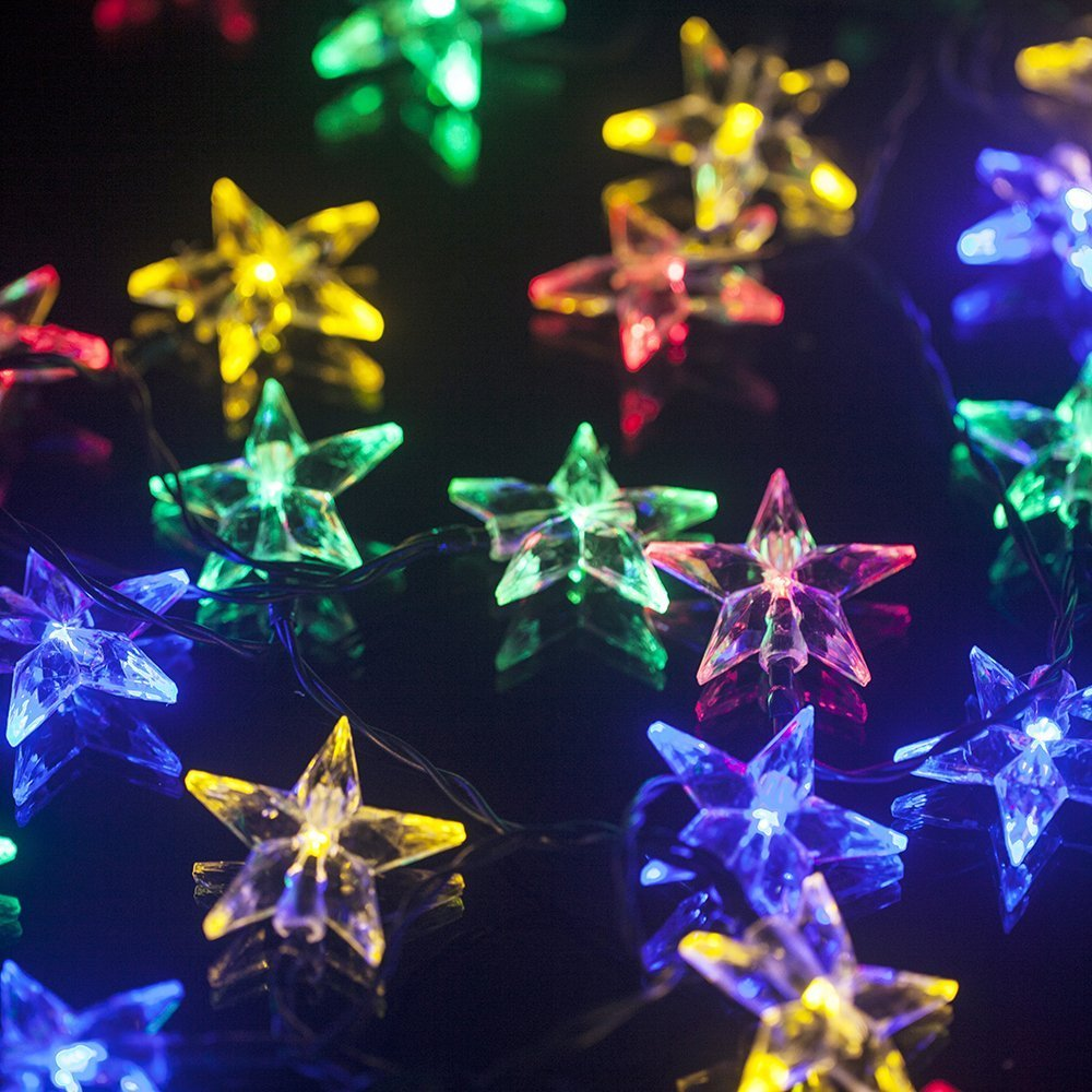 Sunniemart 30 LED Star Solar Christmas Lights Outdoor String Lights for Patio Garden Lawn (Multi Color)