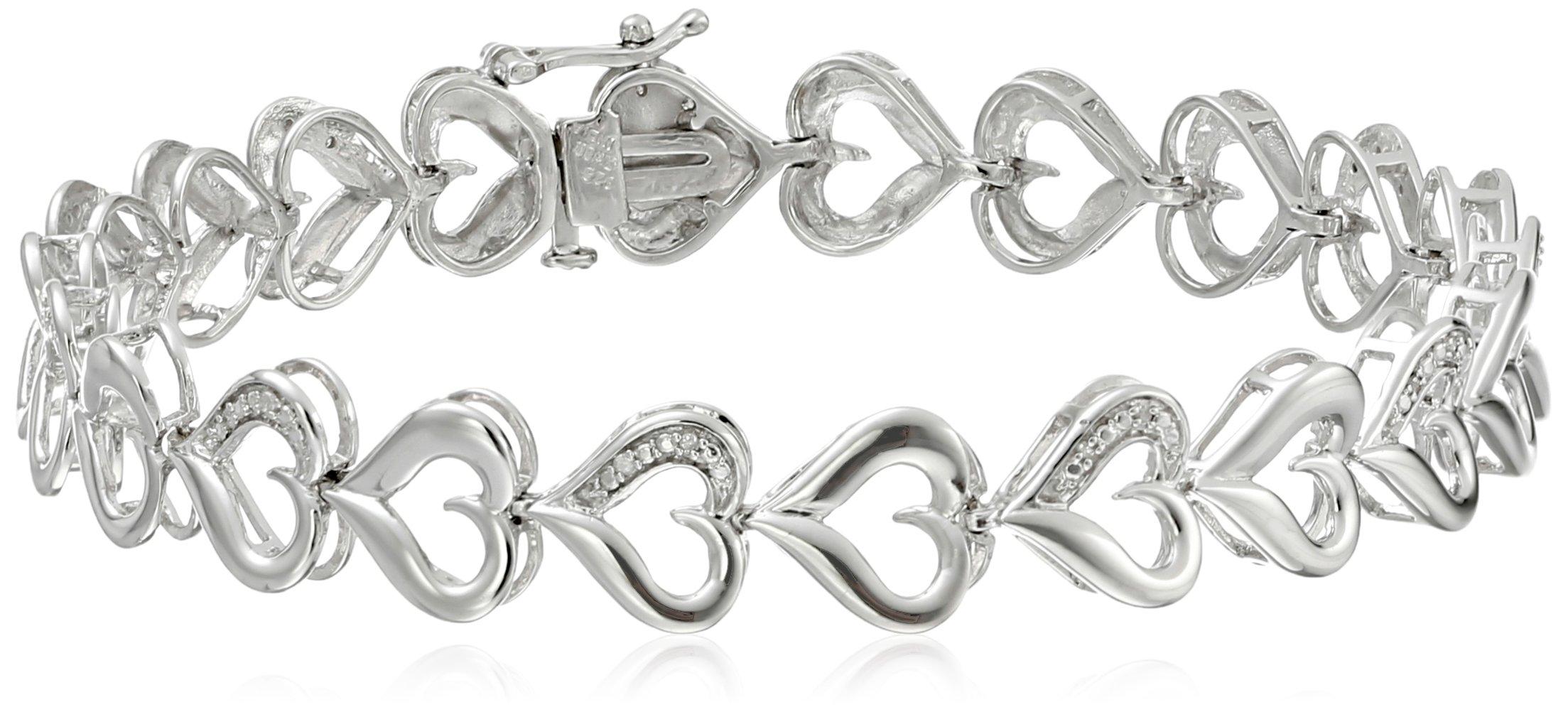 Sterling Silver Diamond Accent Heart Bracelet, 7.25 Inch