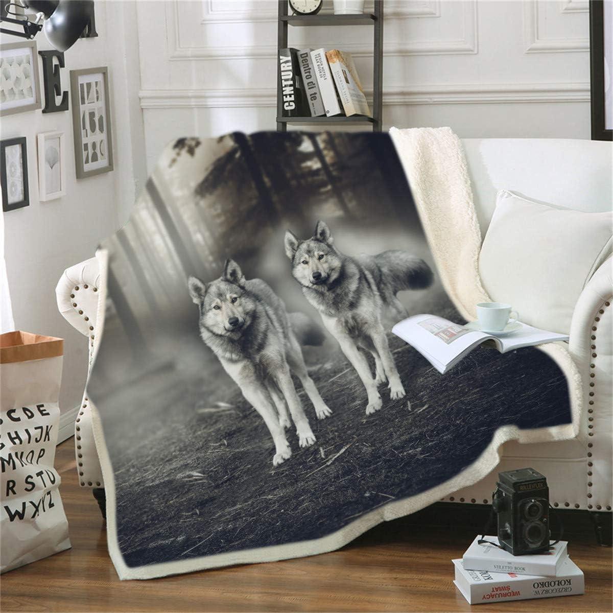 Fansu Manta de Franela en Microfibra, Extra Suave Acogedora y Cálida Manta 3D Lobo Impresión Cubierta de Cama Mantas de Sofa Cama para Adultos y Niños (150 x 200 cm,H)
