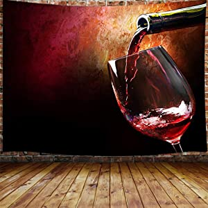 Red Wine Theme Decor Tapestry, Vintage Style Glass Profession Art Wall Hanging for Bedroom Living Room College Dorm, TV Backdrop Wall Blankets 60X40 Inches