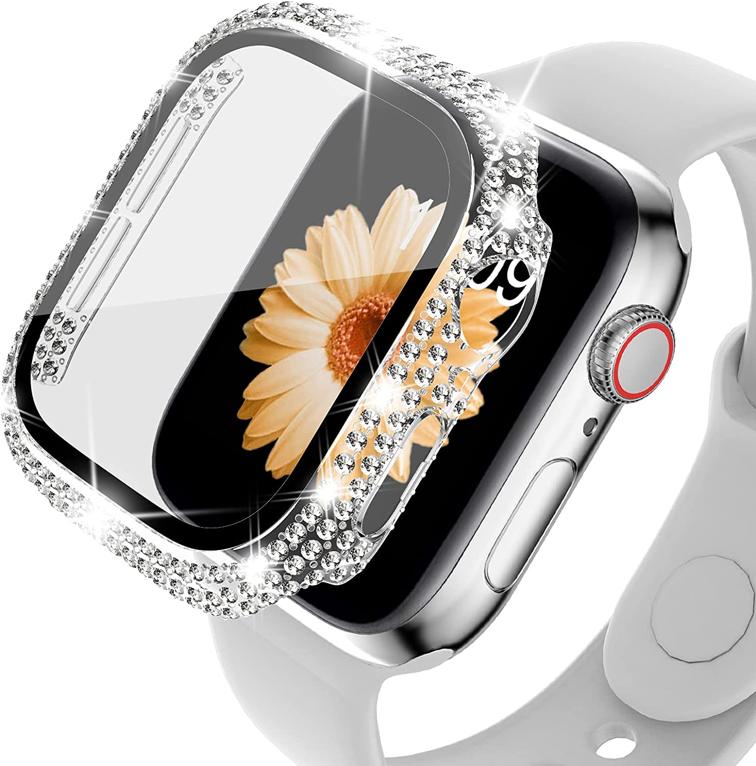 DABAOZA Compatible for Apple Watch Case 38mm with Screen Protector , Crystal Diamond Bling Women Girls Built-in HD Tempered Glass Protective Full Face Cover for iWatch Series 3 / 2 / 1 (Clear, 38mm)