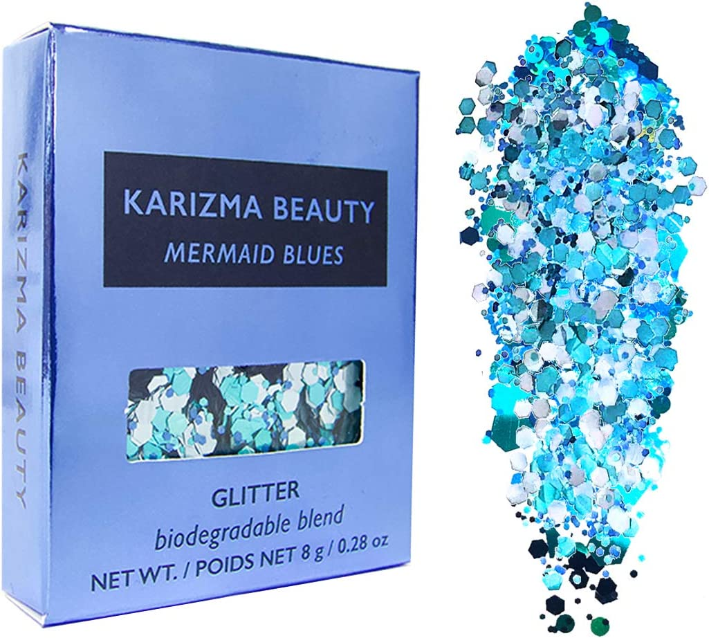 Purpurina gruesa biodegradable de Mermaid Blues // Karizma Beauty ...