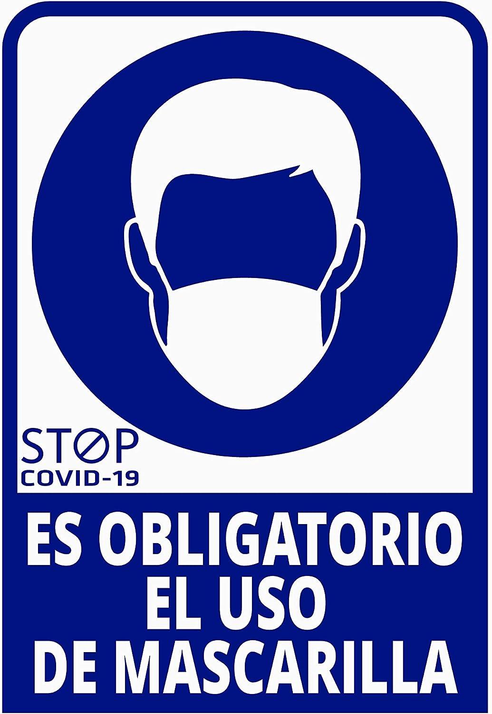 Pegatina Es obligatorio el uso de mascarilla, Prevención COVID-19, diseñado para empresas, como medida de protección contra el Coronavirus - Cartel prevención (Azul Oscuro)