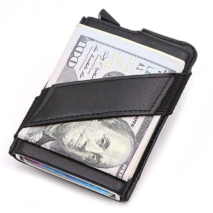 Sumferkyh Billetera Seguridad y prevención Bolso de la Tarjeta de la Carpeta de Aluminio resbaladizo de