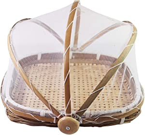 Food Tent Bamboo Basket Food Cover,Bamboo Food Serving Tent,Woven Storage Tray Handmade Bamboo Container -With Cover