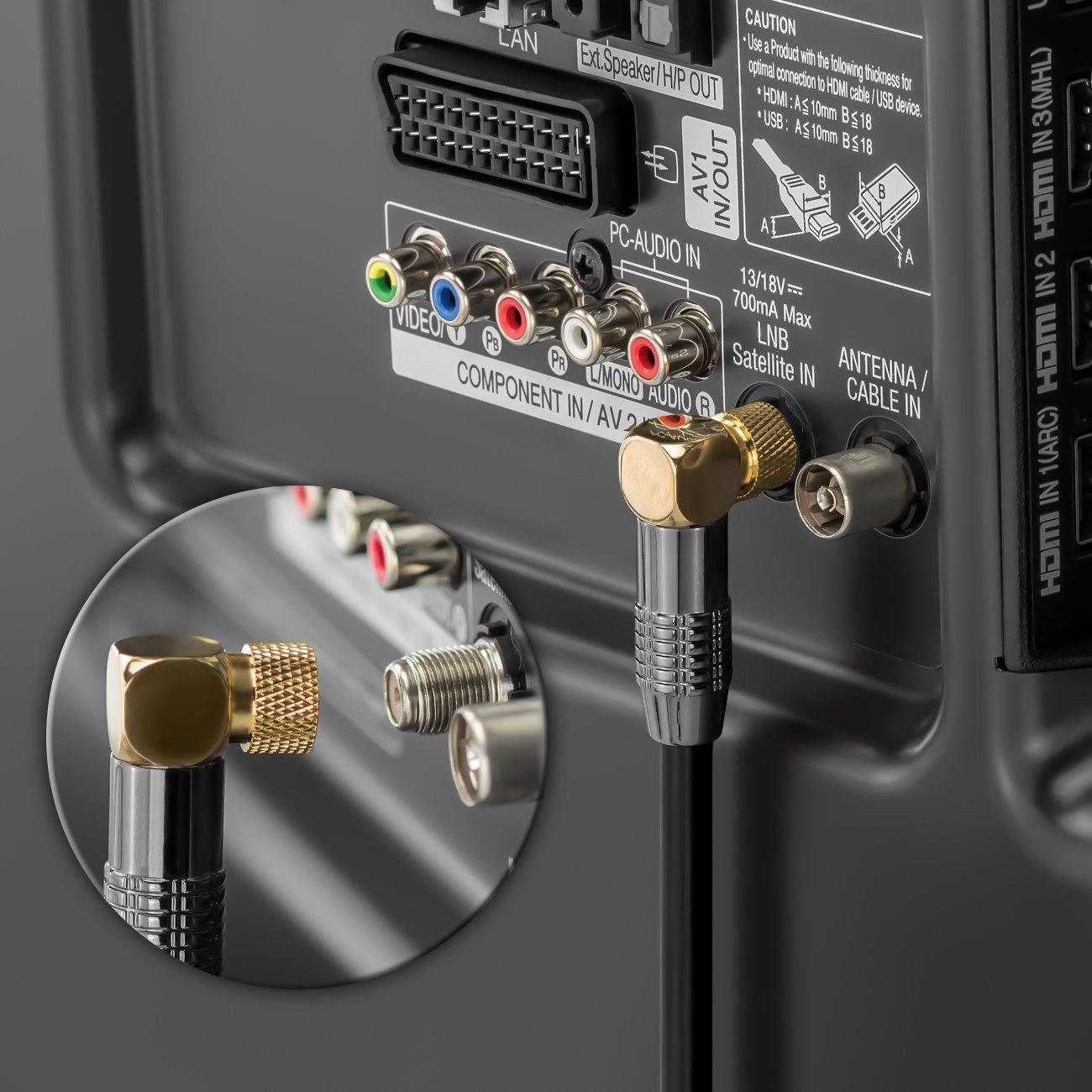deleyCON SAT Cable de antena 3 Metros Cable coaxial cable de sat/élite Conector dorado en F en /ángulo Conector de metal 100 dB UltraHD FullHD HDTV Blanco