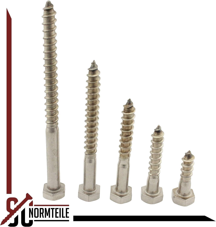 Schl/üsselschrauben Sechskant Holzschrauben 6x110 mm - Edelstahl A2 V2A Holzbauschrauben SC571 - DIN 571 25 St/ück