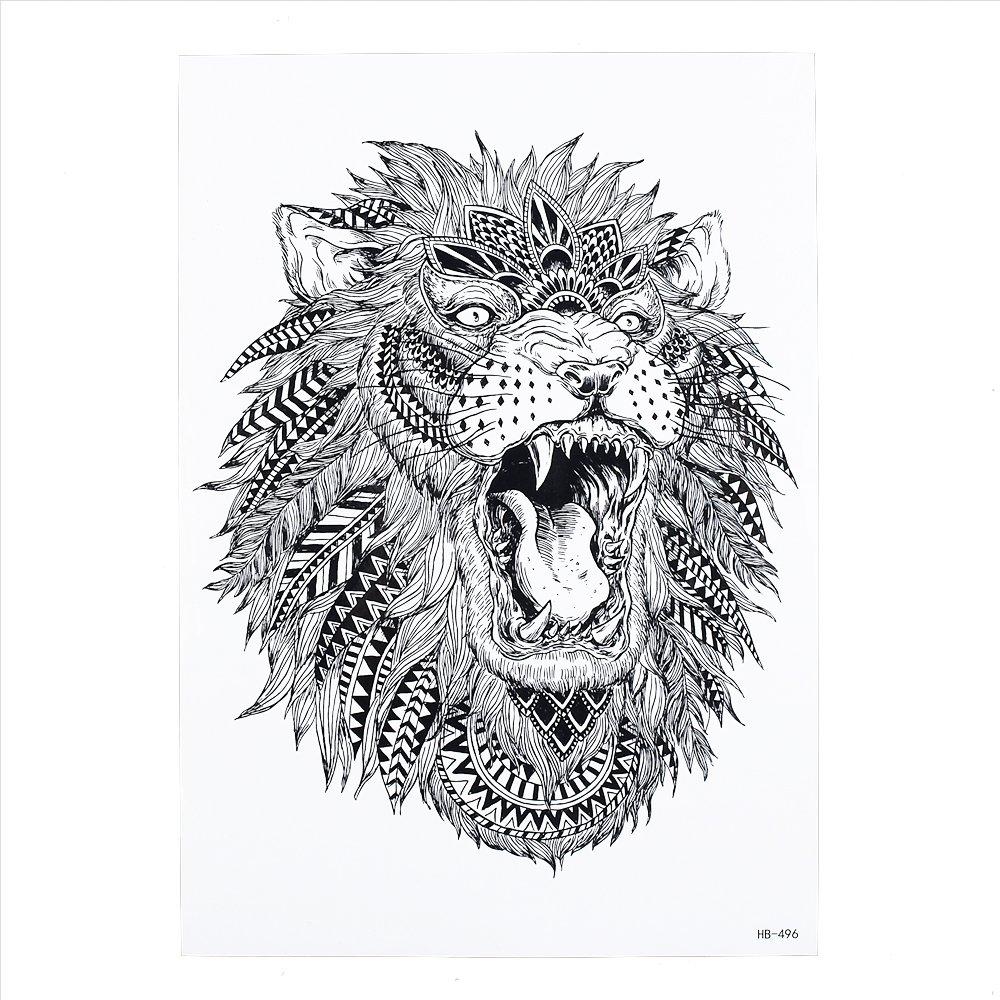 Falso Tattoo adesivo leone con piume una volta tatuaggio nero hb496 Beyond