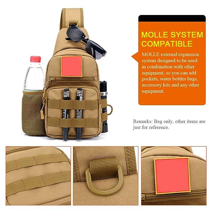 03954de4e58b Lixada Free Knight Outdoor Single Shoulder Bag Sling Chest Pack Molle Bag  Casual Crossbody Bag Travel Daypack  Amazon.co.uk  Sports   Outdoors
