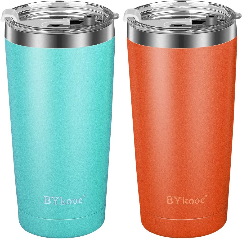 20 oz Tumbler with lid,BYkooc Stainless Steel Travel Coffee Mug and Straw,Vacuum Insulated Tumbler Cup,Double Wall Coffee Tumbler for Home,Office(Green + Orange)