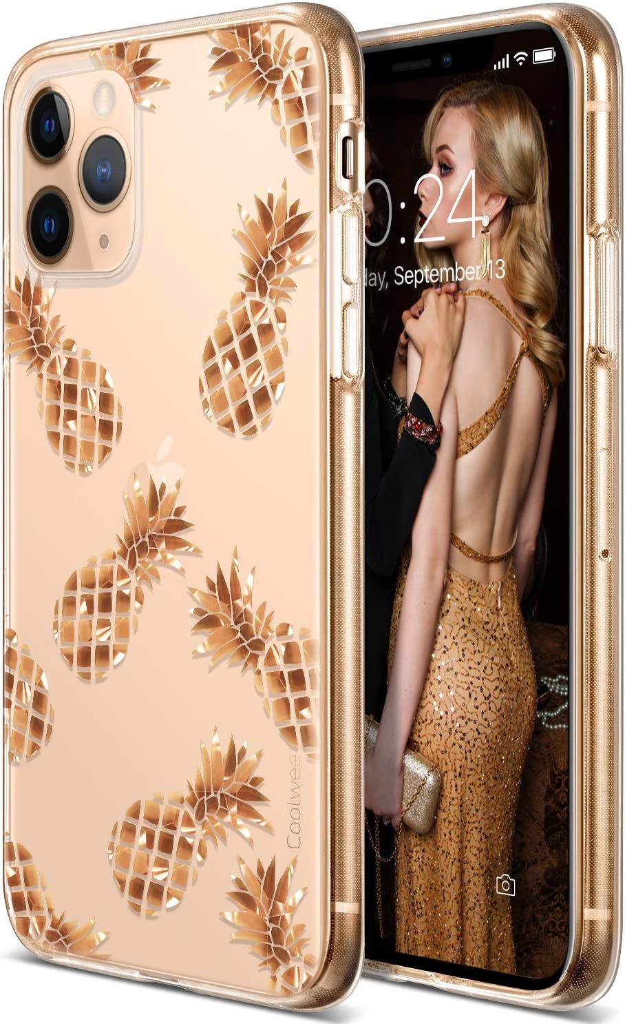 Coolwee for Phone 11 Pro Case Rose Gold Pineapple Floral Case Women Girl Men Foil Clear Design Shiny Glitter Hard Back Case with Soft TPU Bumper Cover for Apple iPhone 11 Pro 5.8 inch 2019 Pineapple