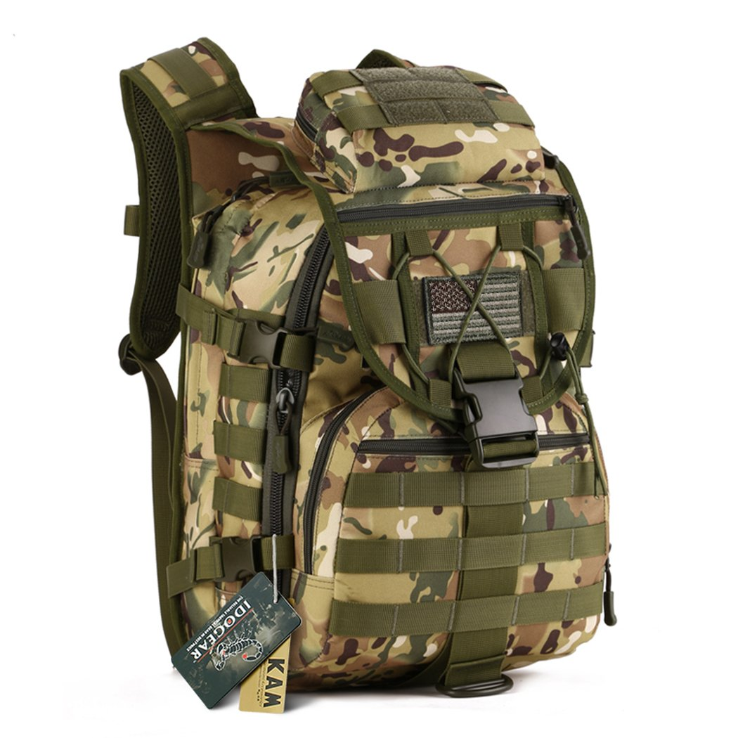 IDOGEAR 40L Tactical Backpack Molle Assault Pack 900D Nylon Water Resistant Military Army Shoulder Bag Travelling Climbing Airsoft School Hiking Bug Out Backpacks (C: Multicam) by IDOGEAR SPORTS