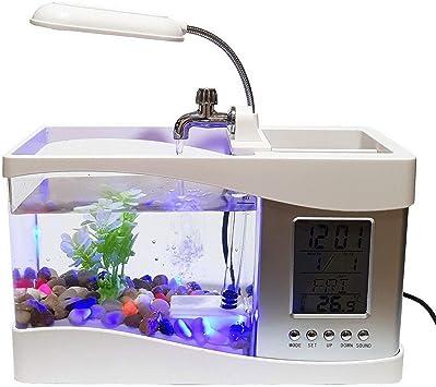 EGPER Kit d'aquarium USB avec Gravier et Plantes décoratives