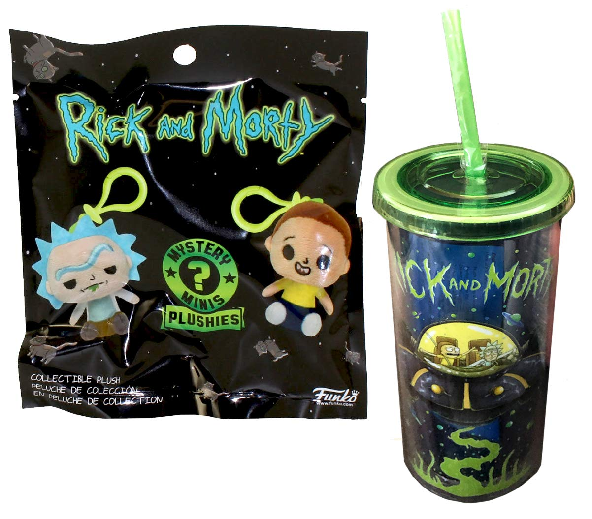 Tumbler and Straw 2 Items R/&Mpop Rick /& Morty on Ship Drinking Cup Funko Cosmic Cup Minis Figure Rick /& Morty Character Pack Plushies Series minis Hanger Hanger Bundled with