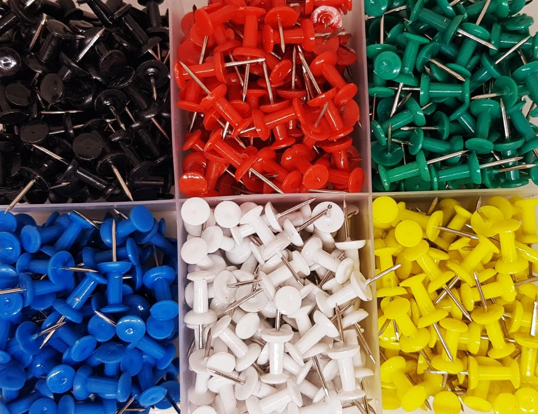 500 Pieces Multi-Colored Push Pins for Map and Cork Notice Board Atlanta Stationers