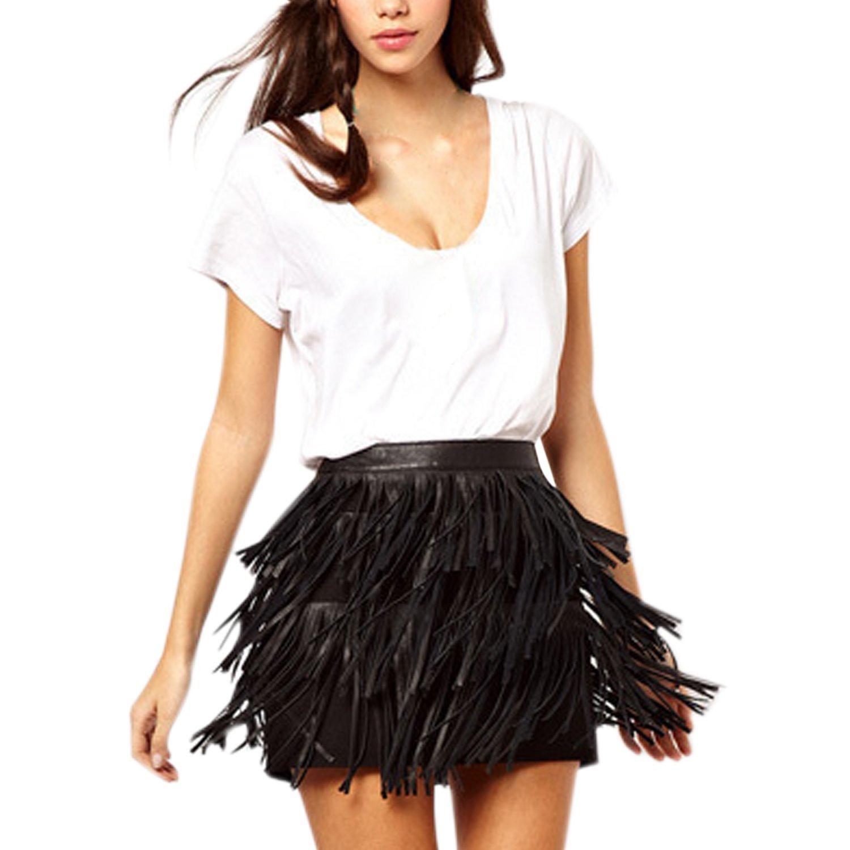 Misscat Womnen's Leather Mini Skirt Tassel Black Skinny Latin Dance Hip Dress