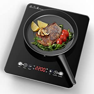 VBGK Portable Induction Cooktop, 2200W Electric Induction Countertop Burner with LED Touch Screen, 9 Temperature Power Setting Induction Cooker Cooktop with Kids Safety Lock and Timer