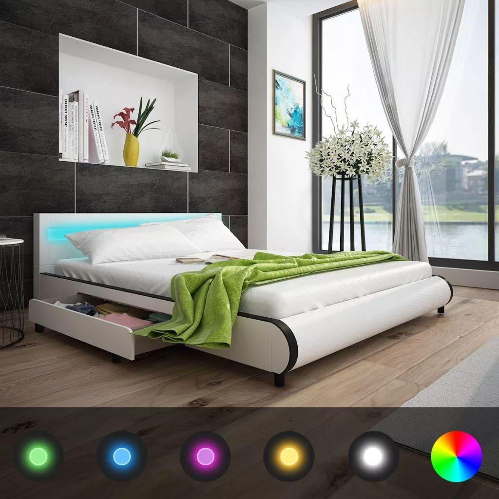 XuzhEU Cama con 2 Cajones y Cabecera Luces LED 180 cm Cuero Artificial Blanco