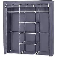 SONGMICS Portable Clothes Closet Non-Woven Fabric Wardrobe Double Rod Storage Organizer 59-Inch