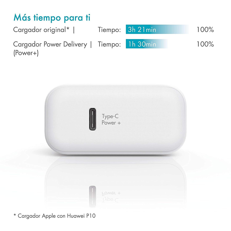 PAZZiMO Cargador USB Tipo C Blanco, Compacto y Ligero, Cargador rápido Power Delivery con 30W, Cargador para iPad Pro, Apple MacBook 2015 o MacBook ...
