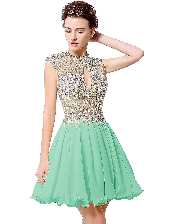 Favebridal Women's Sleeveless Chiffon Crystal Maxi Party Dress LX012