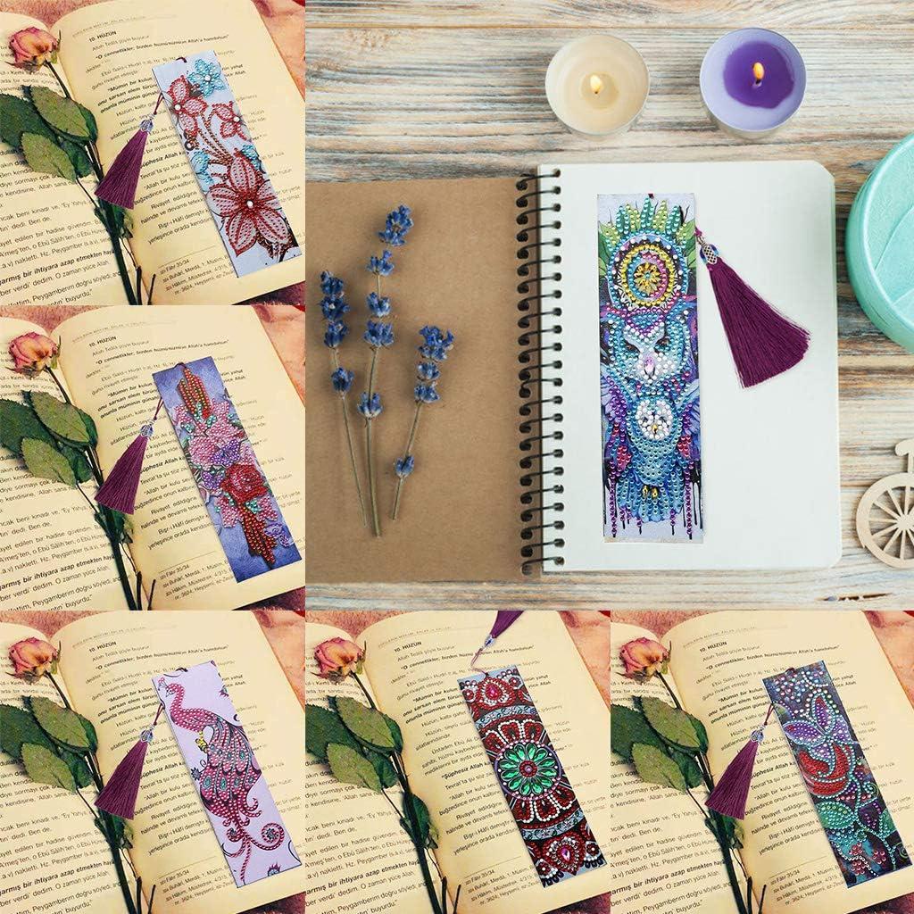 Herramienta Artesanal Marcador de Bricolaje Marca de Libro de Cuero con Diamantes de Imitaci/ón 5D harayaa 6 Juegos de Pintura de Diamante