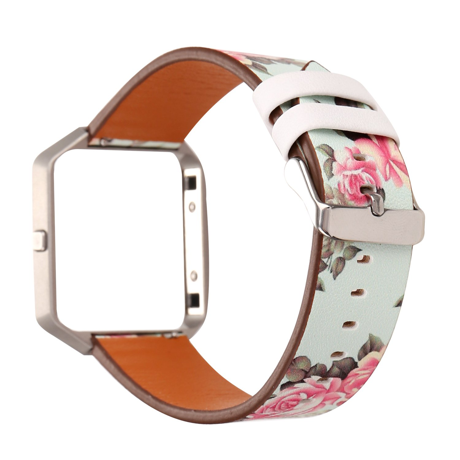 MeShow TCSHOW Soft PU Leather Pastoral/Rural Floral Style Replacement Strap Wrist Band Silver Metal Adapter Compatible Fitbit Blaze (Q)