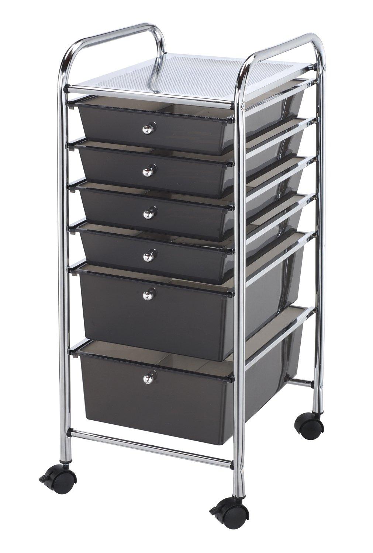 Blue Hills Studio SC6SM Storage Cart 6-Drawer (Standard and Deep) Smoke