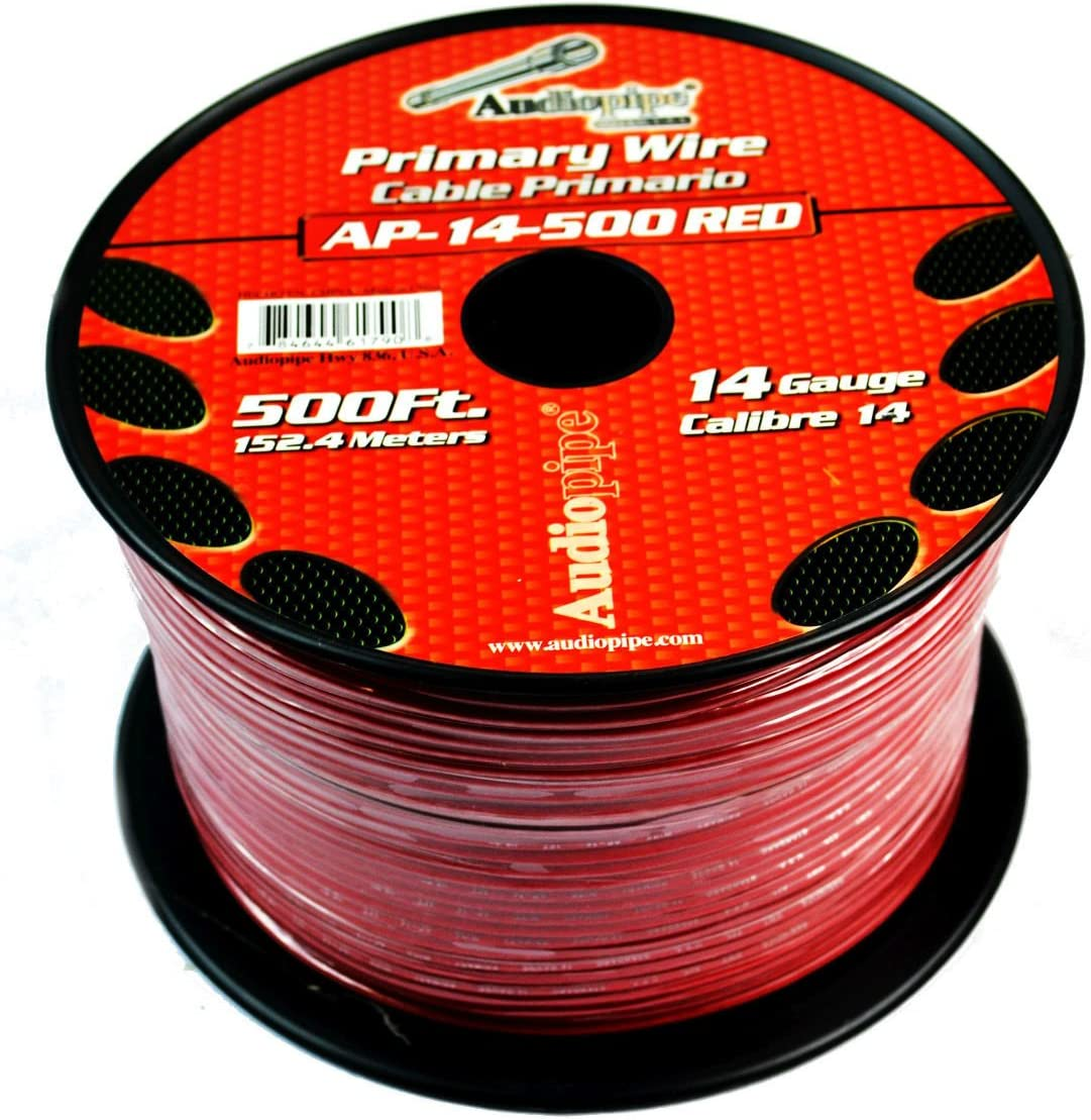 B078WWSWV8 Two Spools 14 GA 500' Red Audiopipe Car Audio Home Remote Primary Wire 71frbhSwRSL