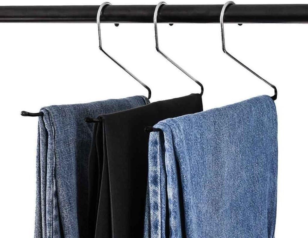 hlc Set de Perchas Antideslizantes 12 Unidades para Pantalones y Jeans 35 cm,Color Negro