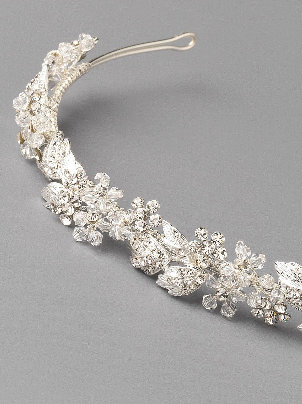 USABride Floral Headband Rhinestone Flower Bridal Headpiece Silver Plated with Rhinestones TI-3300 by USABride (Image #4)