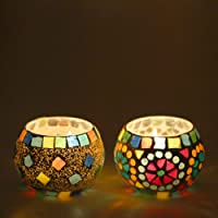 Derien Set OF 2 Glass Mosaic Candle Holders With Free 2 Tea-Lights/ Beautiful Candle Stand Set For Home Decoration/ Candle Lights for Living Room And Dining Area/ Antique Candle Stand for Party Decoration (Size: 9 X 9 X 9 cm) DEDE84101102104105108