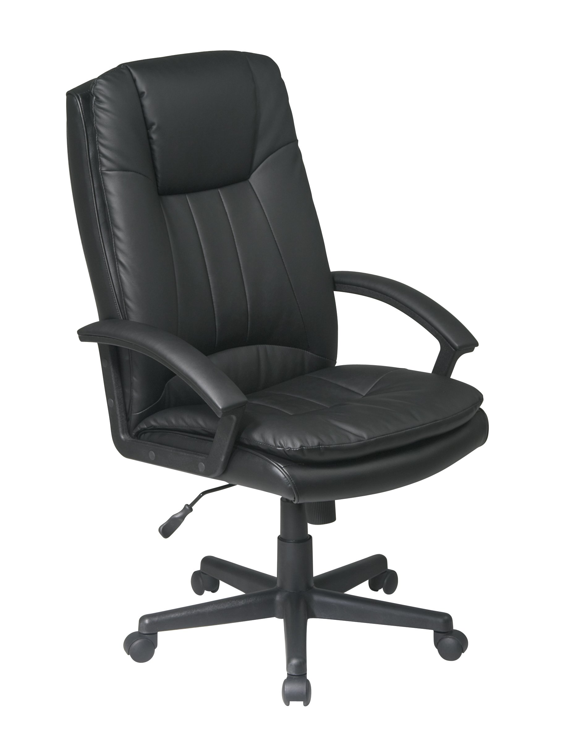 Office Star Deluxe High Back Eco Leather Thick Padded Contour Seat and Back with Built-in Lumbar Support Adjustable Executive Office Chair, Black