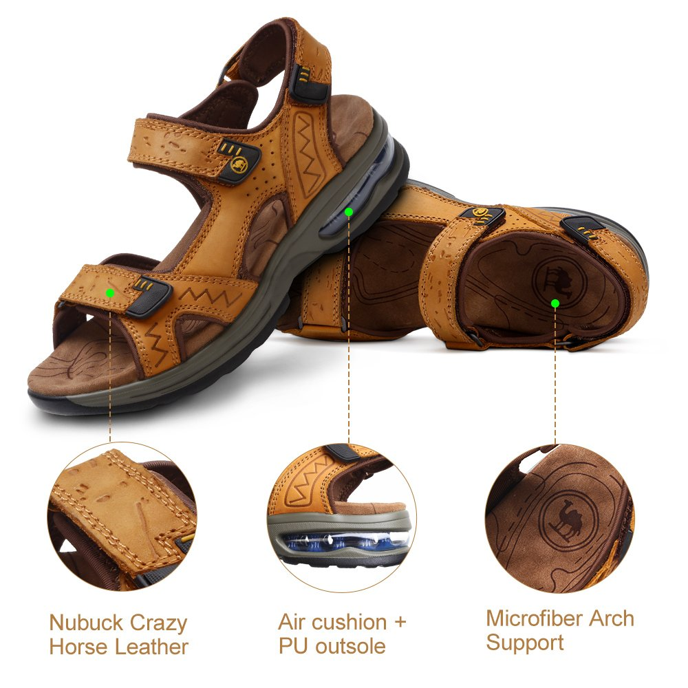 6af9fa7b93f6b Camel Mens Sports Sandals with Air Cushion Summer Leather Outdoor Fisherman  Beach Athletics Walking Hiking Shock-Absorbing