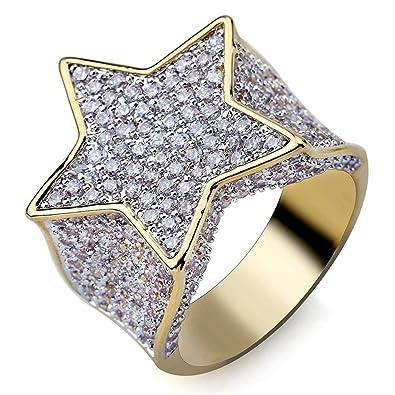 7a6b8f2200bfc MCSAYS Hip Hop Jewelry - Anillo de diamante chapado en oro con circonita  para hombre