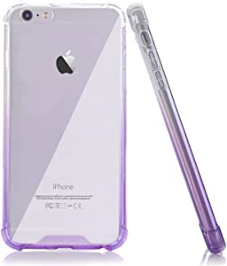 BAISRKE Clear Case for iPhone 6 6s, Shock Absorption Flexible TPU Soft Edge Bumper Anti-Scratch Rigid Slim Protective Cases Hard Plastic Back Cover for iPhone 6 6S - Clear Purple Gradient