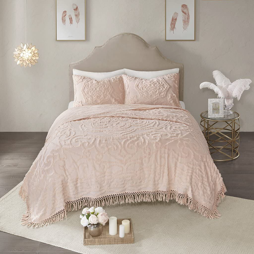 Madison Park Laetitia Coverlet Reversible 100% Cotton Chenille Floral Medallion Tufted Fringe Tassel Soft Hypoallergenic All Season Woven Bedding-Set, Full/Queen, Flower Embroidery Blush