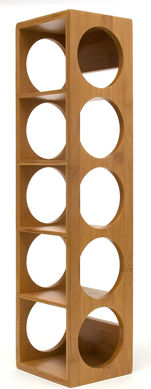 "Lipper International 8305 Bamboo Wood Stackable 5-Bottle Wine Rack, 20-3/4"" x 5-3/8"" x 4-3/4"""