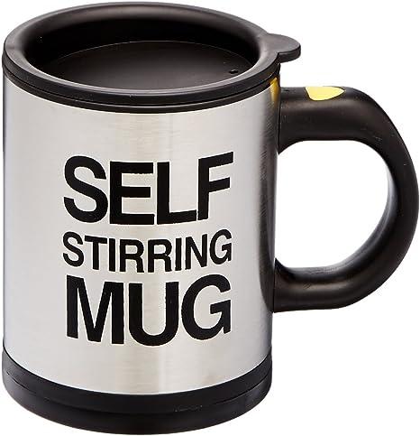 Amazon Com Oliadesign Forum Novelties Self Stiring Mug Silver Black Coffee Cups Mugs