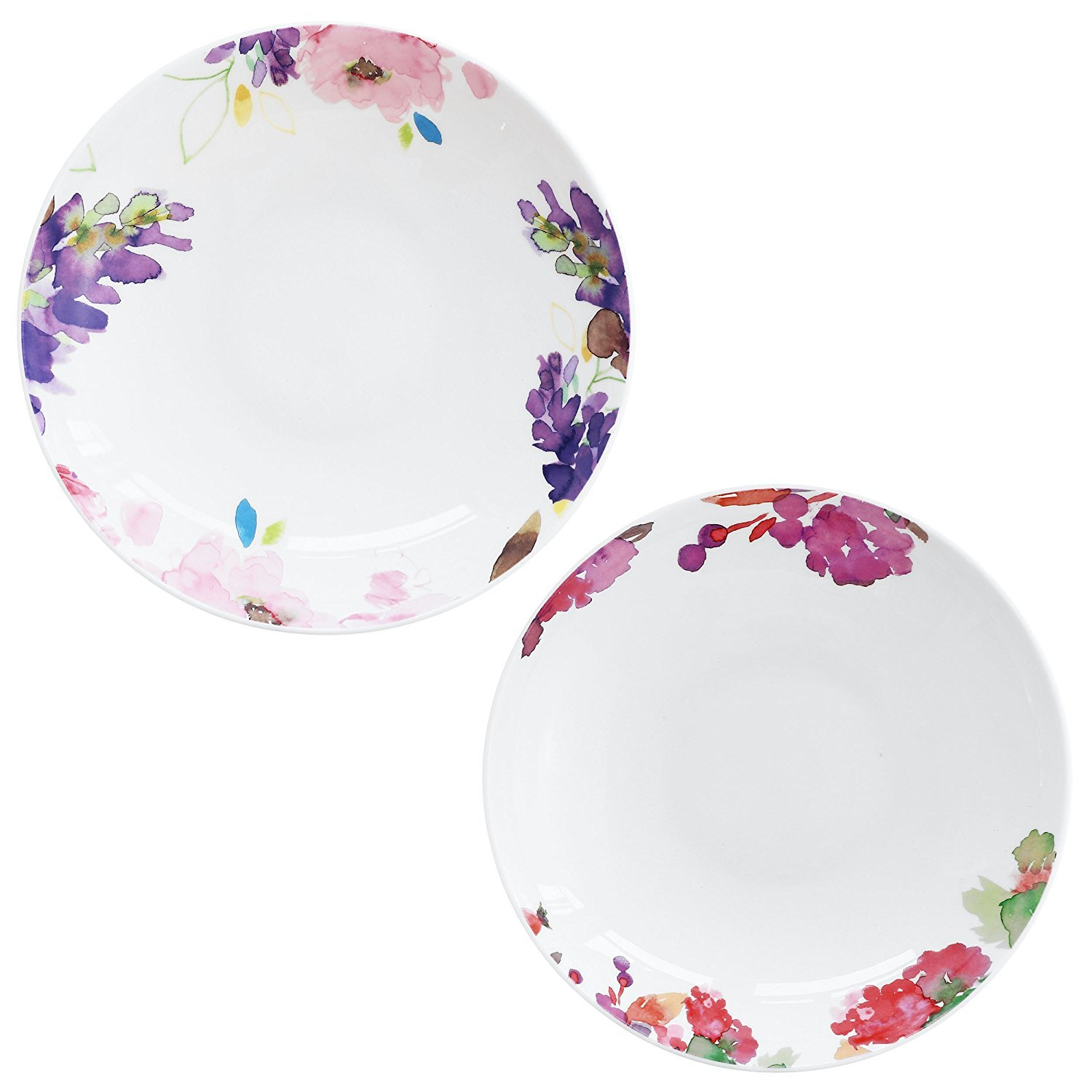 DoubleBlue 8'' Rounded Soup Plate (Set of 2) Bone China pastoral for Everyday use - Watercolor Flowers and Fruits, Milticolors