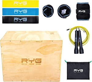Raise Your Game Wood Plyometric Box Workout Set, Plyo Jump Training, Agility, Crossfit, MMA, and Basketball Conditioning